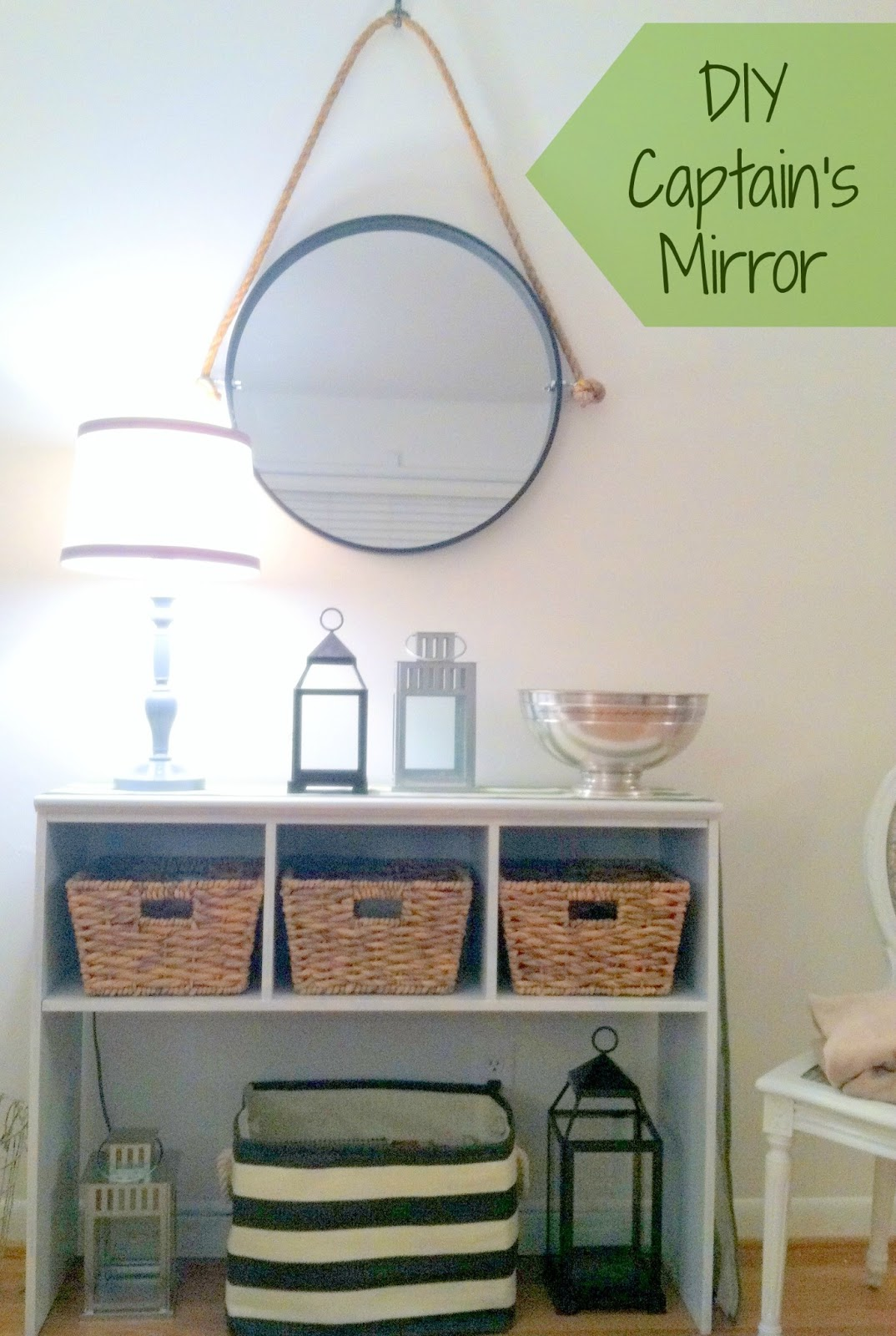 For Now One Of The Walls Is Home To Our Former Entry Way Table. It Was Sad  Sitting There All Alone, So We Framed It Up With An Amazing Captains Mirror  That ...