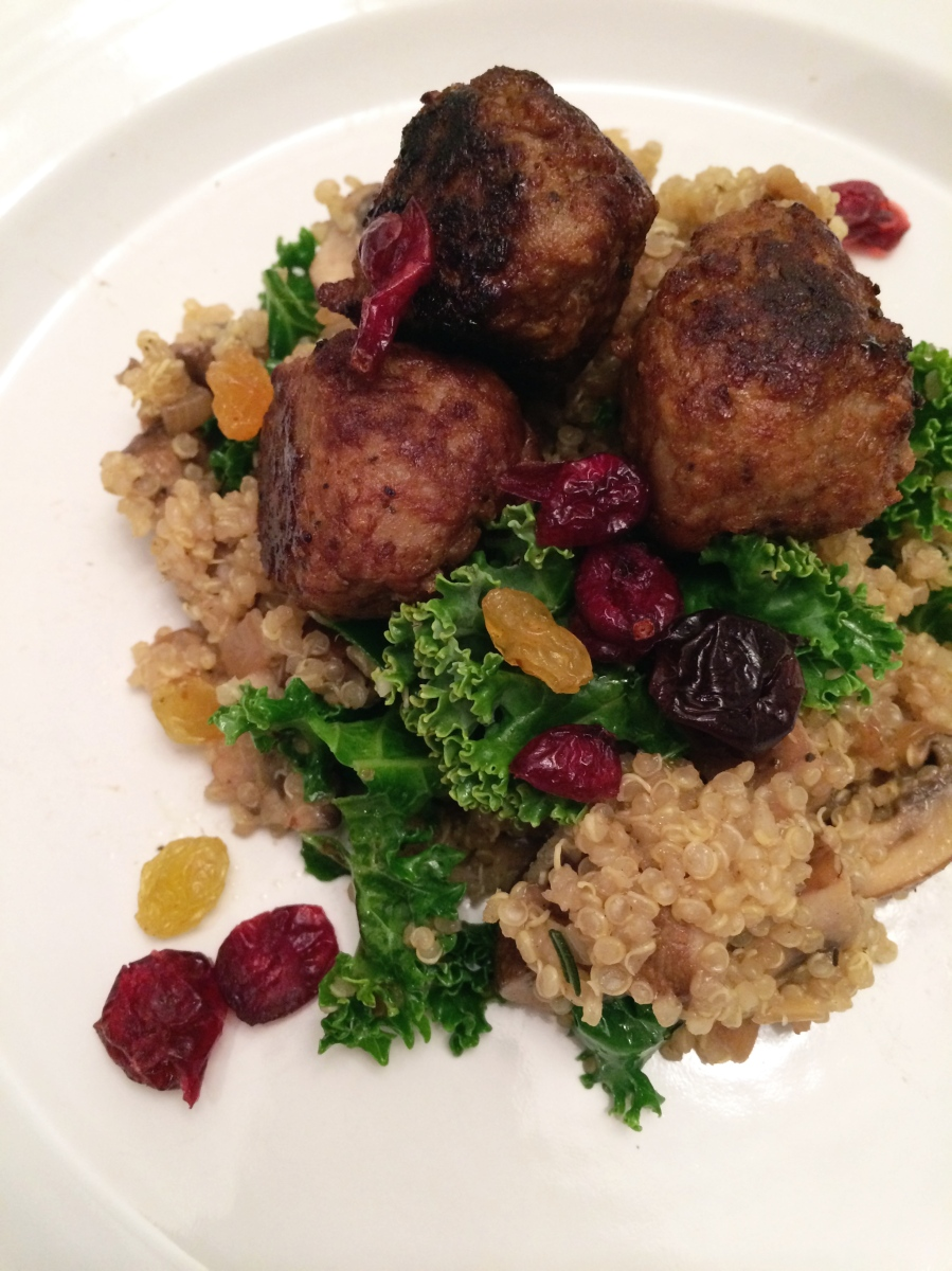 COOK: rosemary mushroom quinoa 'risotto' with kale, chicken meatballs, dried cranberries and golden raisins
