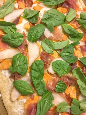 Sweet Potato Prosciutto and Pear White Pizza recipe amanda macy hall 1