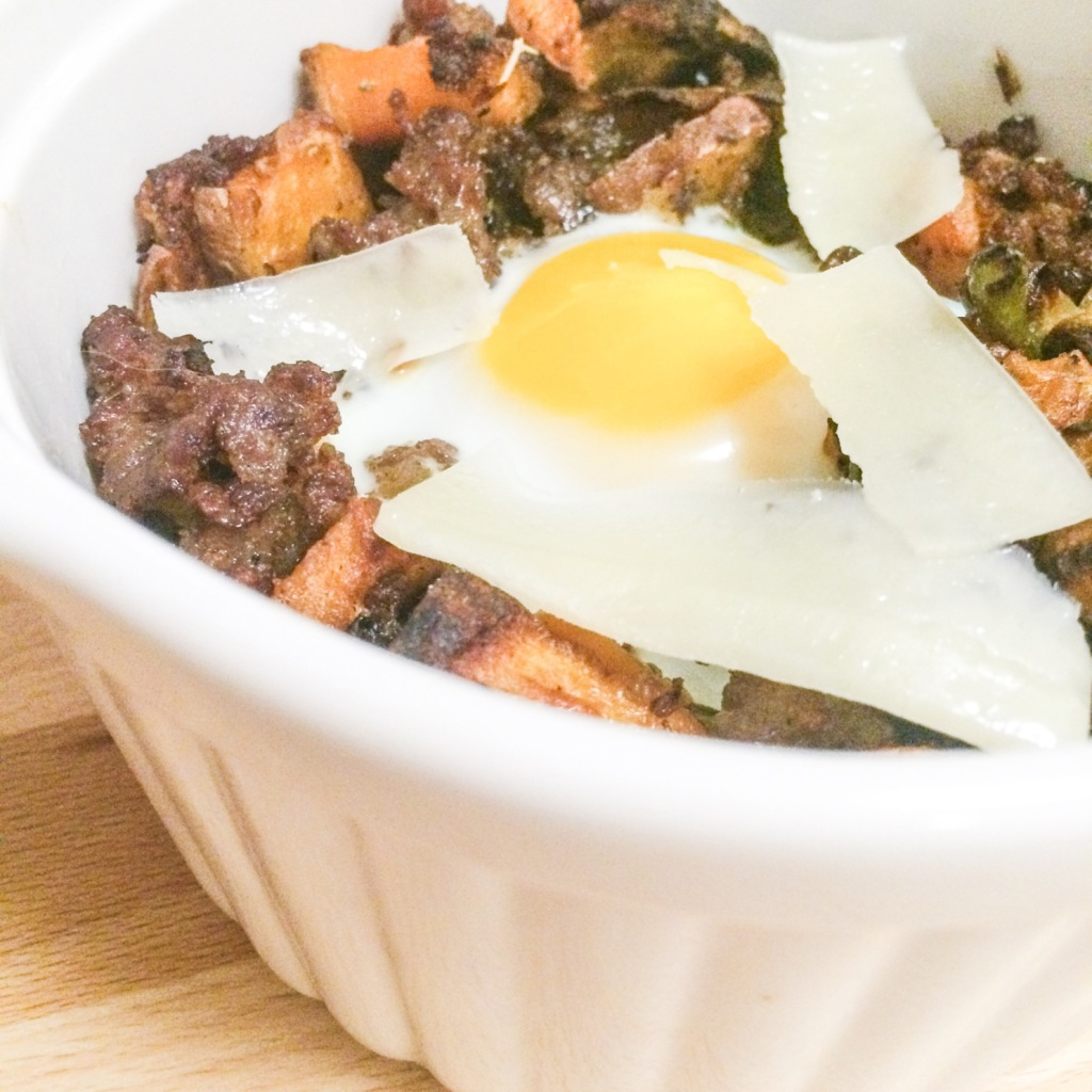 Sweet Potato Hash with Sausage and Eggs by Amanda Macy Hall