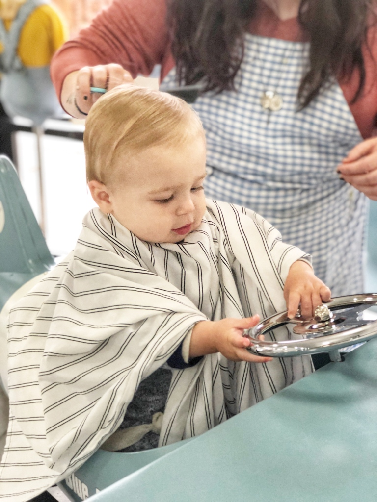 Amanda Macy Hall Baby Austin's First Haircut at The Little Blue Jay Atlanta